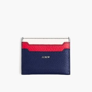 j crew | slim card case in colorblock leather